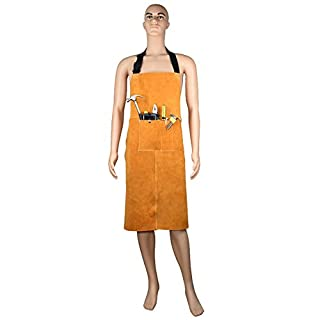 Heavy Duty Leather Heat Resistant Welding Apron Welders Tool Apron with Adjustable Straps Suitable for Men and Women Kitchen Garden Pottery Craft Workshop Garage Activities(HSW-077-A)
