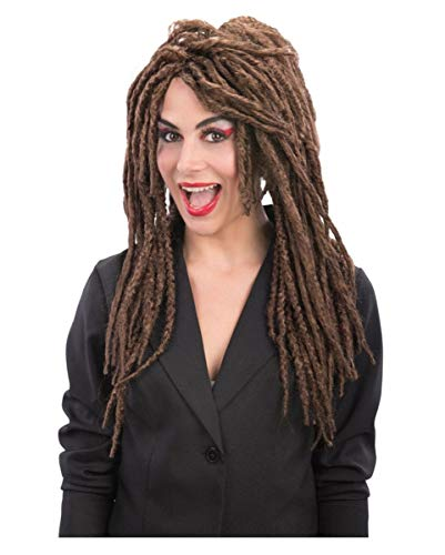 Horror-Shop Lange Rasta Perücke in braun als megacoole Ergänzung für Dein Hippie oder Piraten Kostüm (Voodoo Pirat Kostüm)