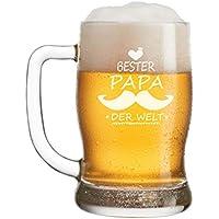 FORYOU24 Leonardo Bierkrug Bierseidel mit Gravur Motiv Papa II- Geschenkidee Bierglas graviert Vatertag