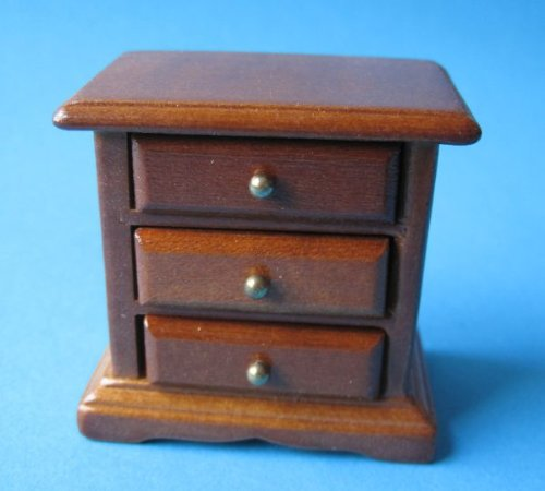 Puppenhaus Nachtschrank braun Puppenmöbel für das Puppenhaus Miniatur 1:12 (Braun- Kirsche) - Kirsche Holz Bett