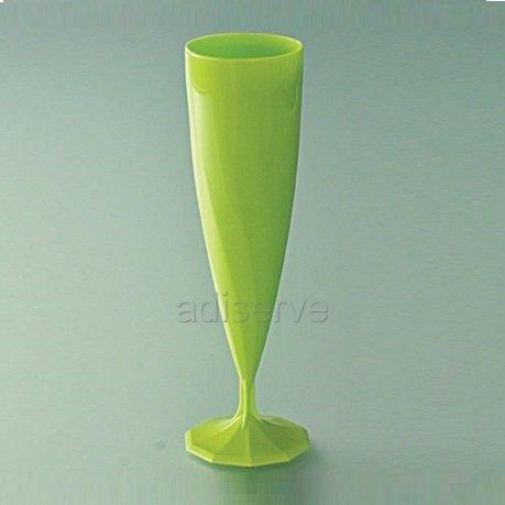 10 flûtes à champagne mariage plastique jetable vert anis nacré - Adiserve -