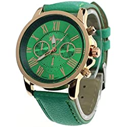 kingko® Uhren,Neue Damenmode Genf roemischen Ziffern-Leder Analog Quarz Armbanduhren mintgrün