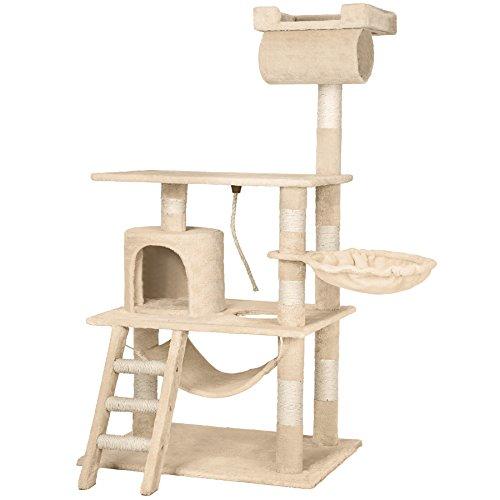 TecTake Arbre à chat griffoir grattoir geant | avec hamac et tunnel | hauteur 141 cm | diverses couleurs au choix (Beige | No. 402279)