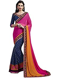 BlueWoman embriodered Printed Sarees