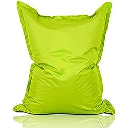 Lumaland Grand Pouf Chaise de XXL de Jeux, pour intérieur et extérieur, Le Salon ou Chambre Coussin avec Housse Lavable 380L 140 x 180 cm Vert Pomme