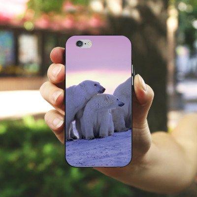 Apple iPhone 5s Housse étui coque protection Ours polaire Ours polaires Ours Housse en silicone noir / blanc