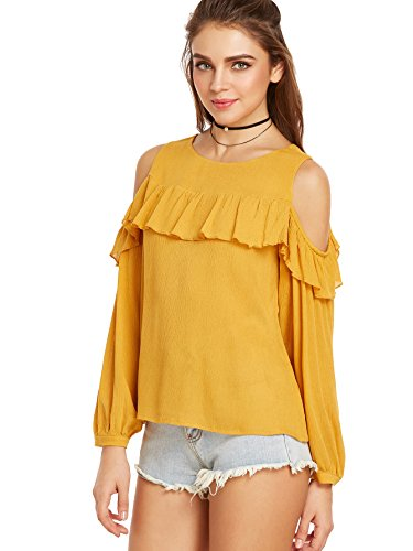 ROMWE Damen Cut Out Bluse mit Rüsche Langarm Elegant Shirt Oberteil Gelb L