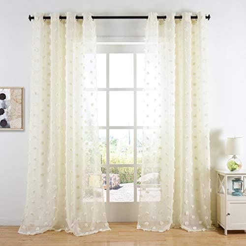 Cosics pannelli per tende beige con decorazioni per finestre, pannelli per tende con occhielli, tende per soggiorno, camera da letto 135 x 245 cm, 1 coppia