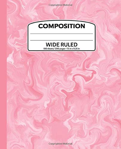 100 Whirlpool (Composition: 200 Pages Wide Ruled Composition Notebook, 7.5 x 9.25 in Writing Book For School Student Kid Teacher Home(Pale Cerise Whirlpool Edition 2))