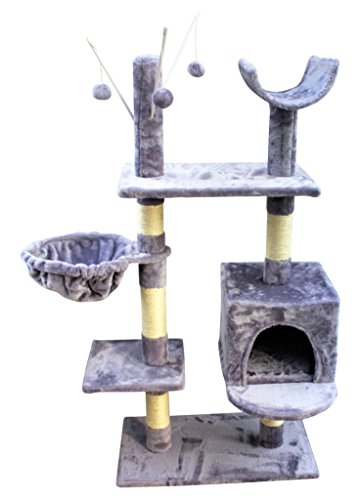 HOME HUT Cat Tree Scratching Post Activity Centre Bed Toys Scratcher New with Cat Nip (Grey) 2