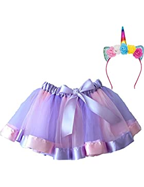 MMTX Girls Rainbow Layered Skirt Ruffle Tiered Tul Tutu Disfraz Layered Dance Performance Bowknot Chiffon Dance...