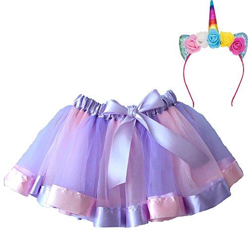 n Layered Lila Rock Rüschen Tiered Tüll Tutu Kostüm Layered Dance Leistung Bowknot Chiffon Tanz Tiered Rock für Mädchen 0-9 T (mit Einhorn Stirnband) (Kostüme Für Kinder Tanz)
