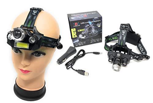 Profi Police LED Cree Stirnlampe Kopflampe 8000LM 4x XM-L T6 inkl. 2x PowerAkku