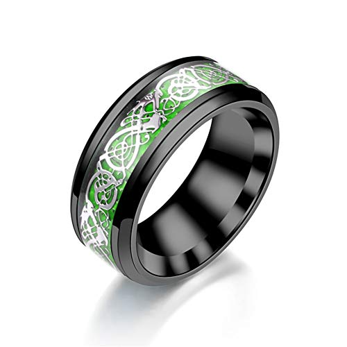Kreis Ring Titan Stahl Kohlefaser Drachenmuster (Farbe : Grün, größe : 9) (Grün Titan Kohlefaser Ring)