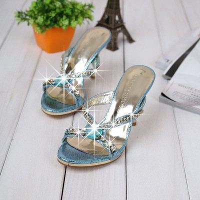 ZYUSHIZ Hausschuhe Sandalen Strand Outdoor der minimalistischen Stil koreanische Version Frau Schüler synthetischer Diamant 35EU