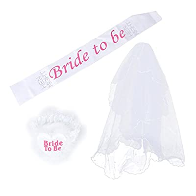 3pcs Bride To Be Garter Sash 1-tier Veil for Wedding Shower Hen Night Party