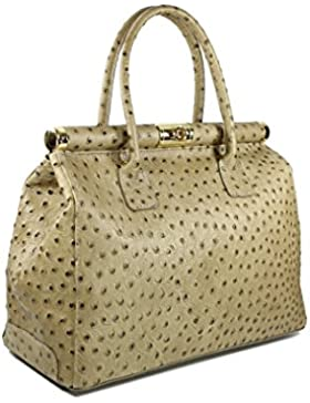 Belli ital. Designer Ledertasche Handtasche taupe Strauss Prägung XL - 34x25x16 cm (B x H x T)