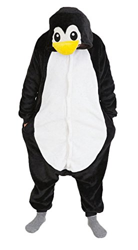 iKneu Tier Onesie Jumpsuits Pyjama Oberall Hausanzug Kigurum Fastnachtskostuem Schlafanzug Pinguin XL (Tier Kostüm)