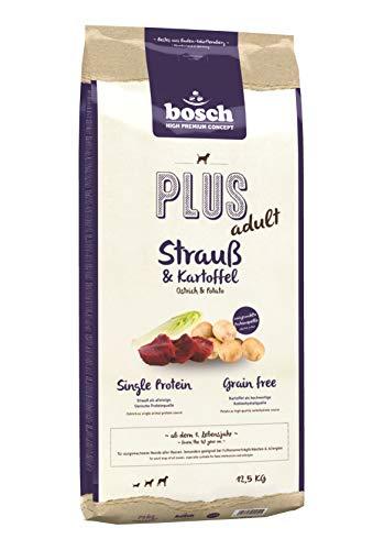 bosch HPC PLUS Strauß & Kartoffel | halbfeuchtes Hundefutter für ausgewachsene Hunde aller Rassen | Single Protein | Grain Free, 1 x 12.5 kg