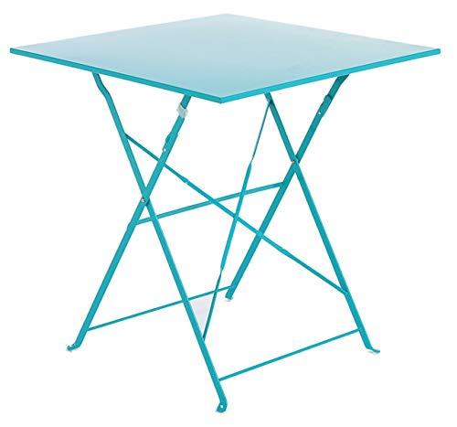 PEGANE Soldes Table de terrasse Alexis Carrée Bleu Lagon en Acier, 70 x 70 x 71 cm