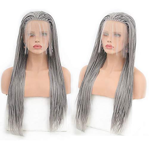 Party queen moda donna parrucche con free part long intrecciato parrucche glueless lace front intrecciato parrucche grigio sintetico parrucche con baby hair heat resistant fibre grigio