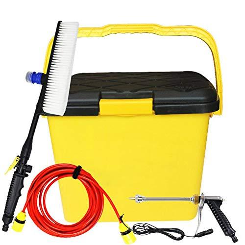 FENG Kompakt und tragbar 12V Hochdruckreiniger,zum Waschen von Autos Power Gun und Erweiterungsset/Gelb