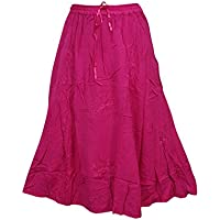 Mogul Interior Festive Skirt Pink Embroidered Rayon Tiered Flare Gypsy Long Skirts
