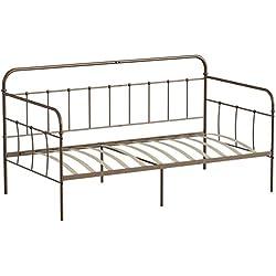 Aingoo Lit Banquette Cadre de canapé-lit Simple en métal Pipe Antique en Forme Cadre de lit de Repos Massif avec Lattes en Bois Lit d'appoint pour Matelas 90 * 190 cm