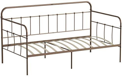 Aingoo Romantische Tagesbet, Daybed im Vintage-Stil mit Holzlatten, ideal als Schlafsofa oder Einzelbett für Kinderzimmer, Erwachsenenzimmer, Gästezimmer, Bronze