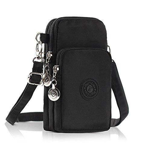 M.Way Phone Tasche, verstellbar Schultergurt Tasche, Mode Nylon Schultertasche, multifunktionale Handytasche mit Vielen Fächern, Kartenfächer, iPhone 5/6/7, Samsung S5/S6/S7 unter 5.5 Zoll