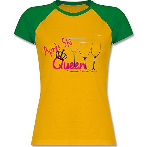 Après Ski - Après Ski Queen - zweifarbiges Baseballshirt / Raglan T-Shirt für Damen Gelb/Grün