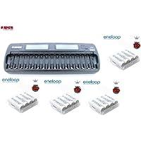 Tensai TI-1600L - Caricatore microprocessore per 1-16 batterie AA / AAA con LCD & Adattatore Auto (12V) + 16 x eneloop AA / Mignon Batterie HR-3UTGB - 12 X 12 Auto