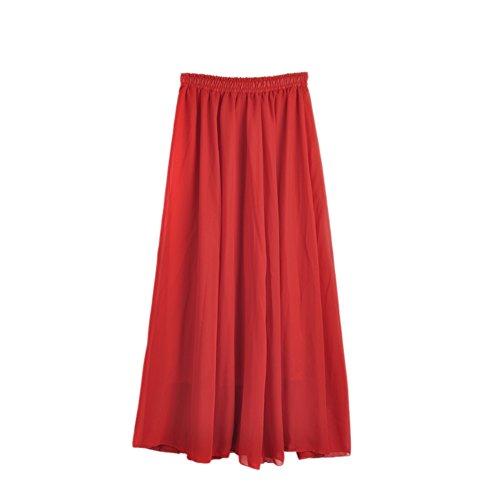 Patgoal Chiffon delle donne gonne a pieghe maxi cinturino del cocktail Gonna Rosso