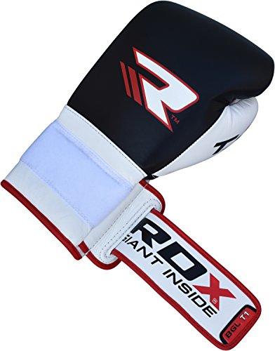 RDX Rindsleder Gel Sparring Boxhandschuhe Stanzen Handschuhe Trainings Muay Thai Schwarz 10oz -