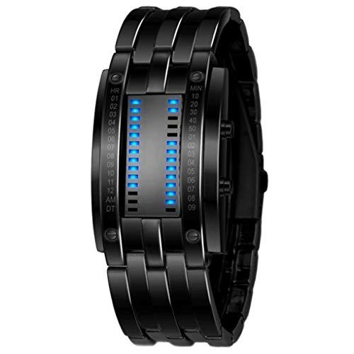 Dorical Armbanduhr für Herren, bequem zu tragen, Luxus-Edelstahlband für Männer, digitales LED-Armband, Sportuhr, modisch, leicht zu verwenden, sehr cool(Schwarz)