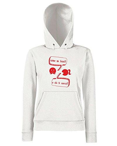 T-Shirtshock - Sweats a capuche Femme T0547 come mi trovi fun cool geek Blanc