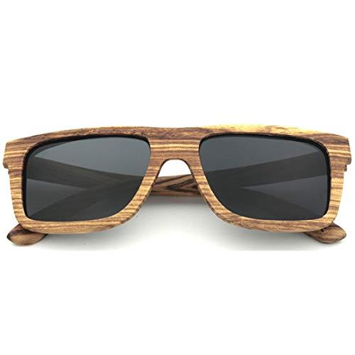 Yiph-Sunglass Sonnenbrillen Mode Handmade Classic Full Frame Zebra Holz Sonnenbrille Farbige Linse UV400 Schutz für Unisex-Erwachsene. (Farbe : Schwarz)