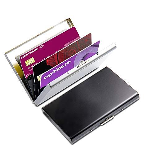 Kreditkartenetui, Comius 2 Stück RFID Blocking Kreditkartenhülle Edelstahl Kreditkartenetui, Kreditkartenetui Kartenetui aus Aluminium, Schwarz+Silber