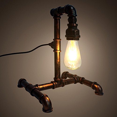 SHDT Retro Loft Industrial Water Pipe Table Lamp personality bedside lamp Reading Beside Bedroom Home Decor , 2