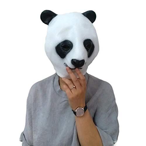Kind Panda Deluxe Kostüm - QWEASZER Deluxe Neuheit Halloween Kostüm Party Latex Tierkopf Maske Panda Maske,Panda-OneSize