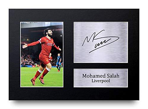 HWC Trading Mohamed Mo Salah Geschenke Unterzeichneten A4 Gedrucktes Autogramm Liverpool Druck-Foto-Bilderanzeige