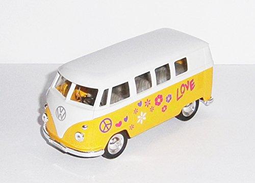 VOLKSWAGEN Bus T1 1963 VW Modell 3-Varianten Bulli Samba Modellauto Auto Spielzeugauto Hippie 19 (Gelb)