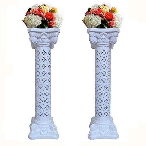 Malayas®2 Stück römischen Säulen Blumen aus Kunststoff Standfuß Hortensie Blumen Girlande Blumen Party Hochzeit Dekoration für Innen und Außen Ball Blumenhoch Feder Blumen Ständer 102cm Höhe Weiß