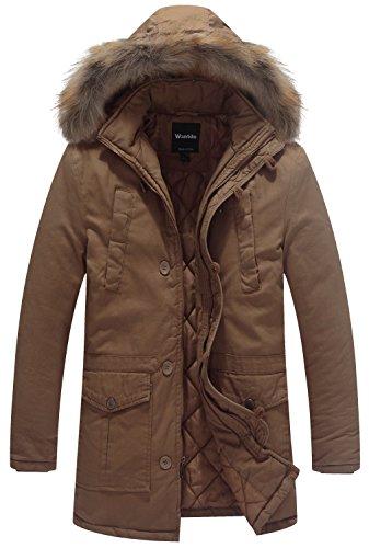 Wantdo Herren Parka Wintermantel Mantel mit Kapuze Khaki Large (Khaki Gefüttert Flanell)