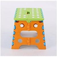 HOUHOUNNPO Ejercicio Cómodo Taburete de plástico Plegable Step Taburete de plástico Portátil para Niños Engrosamiento Taburete de Baño Taburete de Baño (Verde + Naranja)