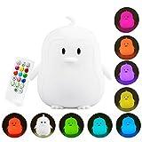 Yuede Lampada da notte in silicone portatile per bambini LED Lampada da notte multicolore a LED, ricarica (pinguino)