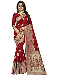Friends Deal Fashion Jacquard Saree (Single-Red Saree_Red_5.5 Meters)