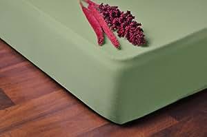 DecoKing 04630 Spannbettlaken 160 x 200 - 180 x 200 cm Jersey Baumwolle Spannbetttuch, grün