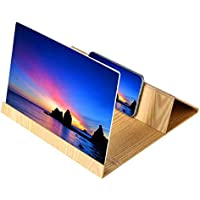Bonanic 3D Mobile Phone Screen Stereoscopic Projection Magnifier Amplifying 12 Inch Desktop Wood Bracket Wooden Foldable Phone Holder HD Movie Video Stand for All Smartphone (Gold) …