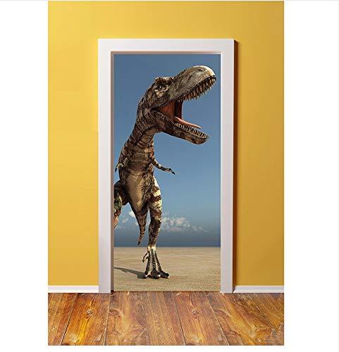 PANDABOOM 3D Tür Aufkleber Dinosaurier Angriff Entfernbare Wandbilder Tapete Für Schlafzimmer Wohnzimmer Geschenk Kunst PVC Wasserdicht Aufkleber Von Wrap 77X200Cm -